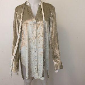 Anthropologie Maeve velvet button down blouse